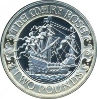 reverse of 2 Pounds - Elizabeth II - 500th Anniversary of the Launch of the Mary Rose - 4'th Portrait (2011) coin with KM# 1199 from United Kingdom. Inscription: THE MARY ROSE TWO POUNDS