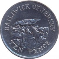 reverse of 10 Pence - Elizabeth II - 2'nd Portrait (1983 - 1990) coin with KM# 57.1 from Jersey. Inscription: BAILIWICK OF JERSEY TEN PENCE