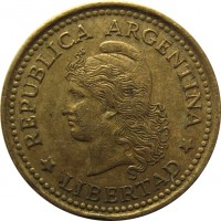 obverse of 10 Centavos (1970 - 1976) coin with KM# 66 from Argentina. Inscription: REPUBLICA ARGENTINA *LIBERTAD*