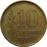 reverse of 10 Centavos (1970 - 1976) coin with KM# 66 from Argentina. Inscription: 10 CENTAVOS 1970