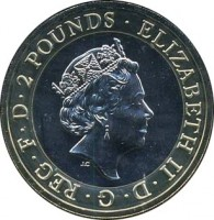 obverse of 2 Pounds - Elizabeth II - 100th Anniversary of the First World War - 5'th Portrait (2016) coin from United Kingdom. Inscription: ELIZABETH II. D . G . REG . F . D . 2 POUNDS . JC