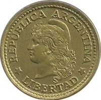 obverse of 50 Centavos (1970 - 1976) coin with KM# 68 from Argentina. Inscription: REPUBLICA ARGENTINA *LIBERTAD*
