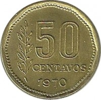reverse of 50 Centavos (1970 - 1976) coin with KM# 68 from Argentina. Inscription: 50 CENTAVOS 1970