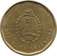 obverse of 10 Centavos (1985 - 1988) coin with KM# 98 from Argentina. Inscription: REPUBLICA ARGENTINA