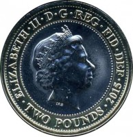 obverse of 2 Pounds - Elizabeth II - 800th Anniversary of the Magna Carta - 5'th Portrait (2015) coin from United Kingdom. Inscription: ELIZABETH · II · D · G · REG · F · D · TWO POUNDS · 2015 J.C
