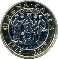 reverse of 2 Pounds - Elizabeth II - 800th Anniversary of the Magna Carta - 5'th Portrait (2015) coin from United Kingdom. Inscription: MAGNA · CARTA · 1215-2015 · JB