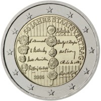 obverse of 2 Euro - 50th anniversary of the Austrian State Treaty (2005) coin with KM# 3124 from Austria. Inscription: 50 JAHRE STAATSVERTRAG 2005