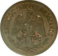 obverse of 10 Centavos (1919 - 1935) coin with KM# 430 from Mexico. Inscription: ESTADOS UNIDOS MEXICANOS