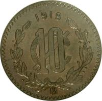 reverse of 10 Centavos (1919 - 1935) coin with KM# 430 from Mexico. Inscription: 1919 10 C Mo