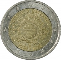 obverse of 2 Euro - Ten years of the Euro (2012) coin with KM# 3205 from Austria. Inscription: REPUBLIK ÖSTERREICH A.H. € 2002 2012