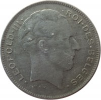 obverse of 5 Francs - Leopold III - French text (1941 - 1947) coin with KM# 129 from Belgium. Inscription: · LEOPOLD · III · · ROI · DES · BELGES. RAU