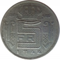 reverse of 5 Francs - Leopold III - French text (1941 - 1947) coin with KM# 129 from Belgium. Inscription: 5 FR 1944