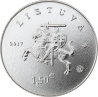 obverse of 1.5 Euro - Lithuanian Hound and Žemaitukas (2017) coin with KM# 225 from Lithuania. Inscription: LIETUVA 2017 1,50 €