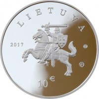 obverse of 10 Euro - Lithuanian Hound and Žemaitukas (2017) coin with KM# 229 from Lithuania. Inscription: LIETUVA 2017 10 €