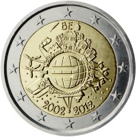 obverse of 2 Euro - Albert II - 10 Years of Euro Cash (2012) coin with KM# 315 from Belgium. Inscription: BE A.H. € 2002 2012