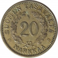 reverse of 20 Markkaa (1931 - 1939) coin with KM# 32 from Finland. Inscription: SUOMEN TASAVALTA 20 MARKKAA