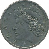 obverse of 50 Centavos (1970 - 1975) coin with KM# 580a from Brazil. Inscription: * BRASIL *