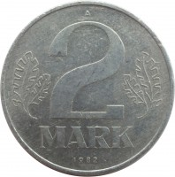 reverse of 2 Mark (1972 - 1990) coin with KM# 48 from Germany. Inscription: 2 MARK 1983