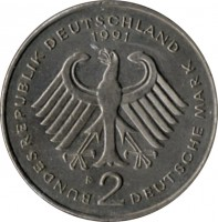 obverse of 2 Deutsche Mark - 40th Anniversary to Federal Republic: Franz Josef Strauss (1990 - 2001) coin with KM# 175 from Germany. Inscription: BUNDESREPUBLIK DEUTSCHLAND 1991 F 2 DEUTSCHE MARK