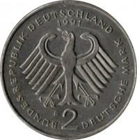 obverse of 2 Deutsche Mark - 40th Anniversary to Federal Republic: Franz Josef Strauss (1990 - 2001) coin with KM# 175 from Germany. Inscription: BUNDESREPUBLIK DEUTSCHLAND 1991 F 2 DEUTSCHE MARK