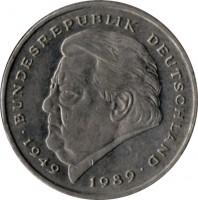 reverse of 2 Deutsche Mark - 40th Anniversary to Federal Republic: Franz Josef Strauss (1990 - 2001) coin with KM# 175 from Germany. Inscription: BUNDESREPUBLIK DEUTSCHLAND 1949 1989