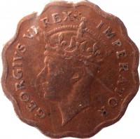 obverse of 1/2 Piastre - George VI (1942 - 1945) coin with KM# 22a from Cyprus. Inscription: GEORGIVS VI REX IMPERATOR