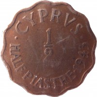 reverse of 1/2 Piastre - George VI (1942 - 1945) coin with KM# 22a from Cyprus. Inscription: · CYPRVS · HALF PIASTRE · 1943