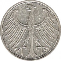 obverse of 5 Deutsche Mark (1951 - 1974) coin with KM# 112 from Germany.
