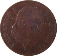 obverse of 1 Centesimo - Umberto I (1895 - 1900) coin with KM# 29 from Italy. Inscription: UMBERTO I RE D'ITALIA S ·