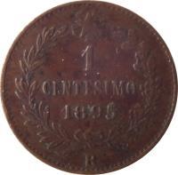 reverse of 1 Centesimo - Umberto I (1895 - 1900) coin with KM# 29 from Italy. Inscription: 1 CENTESIMO 1895 R