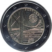 obverse of 2 Euro - The Fifty Years of 25th of April bridge (2016) coin with KM# 866 from Portugal. Inscription: PORTUGAL PONTE 25 DE ABRIL 1966 2016 INCM JOSÉ AURÉLIO