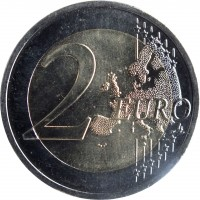 reverse of 2 Euro - The Fifty Years of 25th of April bridge (2016) coin with KM# 866 from Portugal. Inscription: 2 EURO LL
