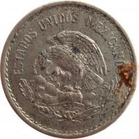 obverse of 10 Centavos (1936 - 1946) coin with KM# 432 from Mexico. Inscription: ESTADOS UNIDOS MEXICANOS