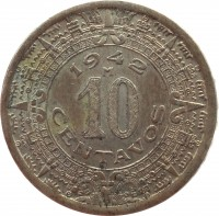 reverse of 10 Centavos (1936 - 1946) coin with KM# 432 from Mexico. Inscription: 1942 M 10 CENTAVOS