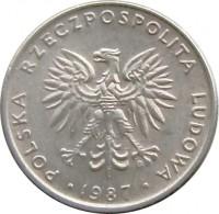 obverse of 20 Złotych - Larger (1984 - 1988) coin with Y# 153.1 from Poland. Inscription: POLSKA RZECZPOSPOLITA LUDOWA · 1986 ·