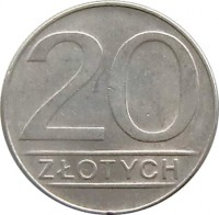 reverse of 20 Złotych - Larger (1984 - 1988) coin with Y# 153.1 from Poland. Inscription: 20 ZŁOTYCH