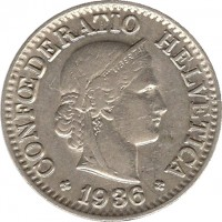 obverse of 10 Rappen (1932 - 1939) coin with KM# 27b from Switzerland. Inscription: CONFOEDERATIO HELVETICA 1939