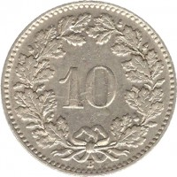 reverse of 10 Rappen (1932 - 1939) coin with KM# 27b from Switzerland. Inscription: 10 B