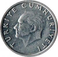 obverse of 25 Lira (1985 - 1989) coin with KM# 975 from Turkey. Inscription: TÜRKİYE CUMHURİYETİ