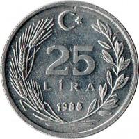 reverse of 25 Lira (1985 - 1989) coin with KM# 975 from Turkey. Inscription: 25 LIRA 1988