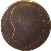 obverse of 5 Centesimi - Vittorio Emanuele III (1939 - 1943) coin with KM# 73a from Italy. Inscription: VITT · EM · III · RE · E · IMP ·