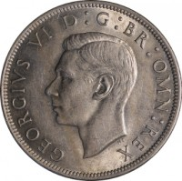 obverse of 1/2 Crown - George VI - Without IND:IMP (1949 - 1952) coin with KM# 879 from United Kingdom. Inscription: GEORGIVS VI D: G: BR: OMN: REX
