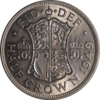 reverse of 1/2 Crown - George VI - Without IND:IMP (1949 - 1952) coin with KM# 879 from United Kingdom. Inscription: · FID · · DEF · GG GG K G HALF CROWN 1950
