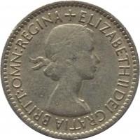 obverse of 6 Pence - Elizabeth II - With BRITT:OMN; 1'st Portrait (1953) coin with KM# 889 from United Kingdom. Inscription: + ELIZABETH II DEI GRATIA BRITT:OMN:REGINA