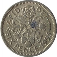 reverse of 6 Pence - Elizabeth II - With BRITT:OMN; 1'st Portrait (1953) coin with KM# 889 from United Kingdom. Inscription: FID · DEF · SIX PENCE 1953 E.F C.T