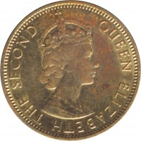 obverse of 1/2 Penny - Elizabeth II - 1'st Portrait (1964 - 1966) coin with KM# 38 from Jamaica. Inscription: QUEEN ELIZABETH THE SECOND