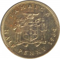 reverse of 1/2 Penny - Elizabeth II - 1'st Portrait (1964 - 1966) coin with KM# 38 from Jamaica. Inscription: JAMAICA HALF PENNY 1964