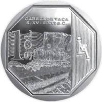 reverse of 1 Sol - Wealth and Pride of Peru: Cabeza de Vaca (2016) coin with KM# 396 from Peru. Inscription: CABEZA DE VACA S. XV - S. XVI d.c. A Sol
