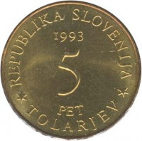 obverse of 5 Tolarjev - 400th Anniversary of the Battle of Sisek (1993) coin with KM# 9 from Slovenia. Inscription: REPUBLIKA SLOVENIJA 1993 PET TOLARJEV