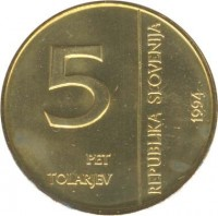 obverse of 5 Tolarjev - 50th Anniversary of Monetary Institute of Slovenia (1994) coin with KM# 15 from Slovenia. Inscription: 5 PET TOLARJEV REPUBLIKA SLOVENIJA 1994